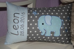 ♥ Kissen ★ Elefant ★ mit Namen bestickt + Inlett ♥ (Kopie id: 17509)