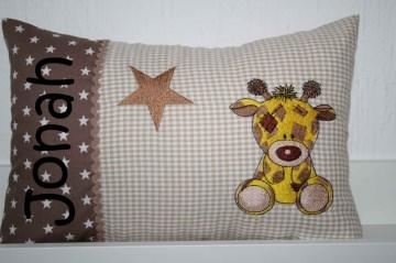 ♥ Kissen ★ Giraffe mit Stern ★ mit Namen bestickt + Inlett ♥