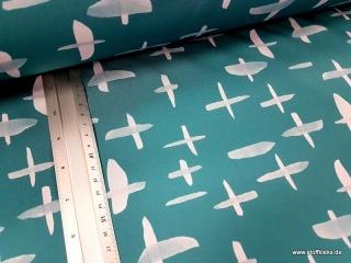 Softshell | Kreuze | aquagrün/weiss