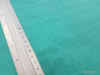 beschichtete Baumwolle / Wachstuch | Uni | gedruckte Leinenstruktur | hellpetrol