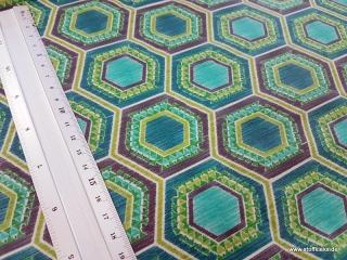 beschichtete Baumwolle / Wachstuch | Hexagon | grün/blau