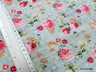 beschichtete Baumwolle / Wachstuch | Rosen | grau/bunt