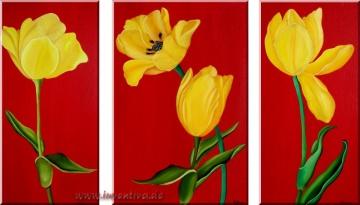 *Tulpen* - Triologie auf Keilrahmen Mischtechnik