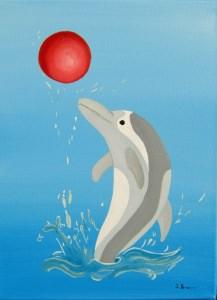 *Delfin* - Ölbild auf Keilrahmen - Mischtechnik