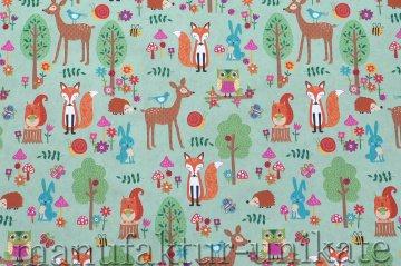 Geschenkpapier - Tiere im Wald - Meterware 50 cm breit - Länge nach Wunsch -