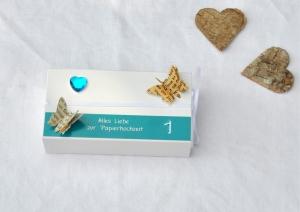 1. Hochzeitstag, Papierhochzeit Geschenkverpackung - Schachtel -  TÜRKIS