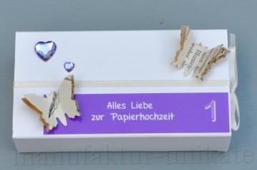 1. Hochzeitstag, Papierhochzeit Geschenkverpackung - Schachtel -  LILA