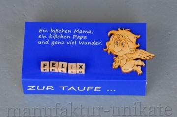 Schachtel zur Taufe mit Namen vom Kind - Geldgeschenk - BLAU
