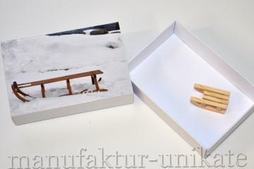 Schachtel für Geldgeschenk oder Gutschein - Winterurlaub - Schlitten