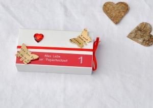 1. Hochzeitstag, Papierhochzeit Geschenkverpackung - Schachtel -  ROT