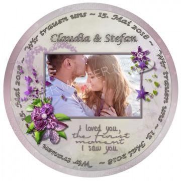 ESSBARES TORTENBILD TORTENAUFLEGER Herzform Fotobild Motivtorte mit Wunschtext und Foto Hochzeit Heiraten