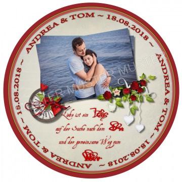 Wir heiraten ~ unsere Hochzeit - Tortenbild Tortenaufleger Fotobild Motivtorte essbar mit Wunschtext und Foto