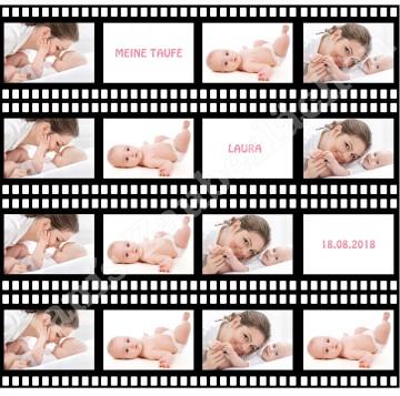 ESSBARES TORTENBILD TORTENAUFLEGER Tortenband Filmstreifen Fotobild Motivtorte mit Wunschtext und Foto
