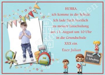 Mein 1. Schultag Einschulung Erster Schultag  - Einladungskarten Fotokarten Grafikdatei zum Selbstdrucken mit Wunschtext und Foto