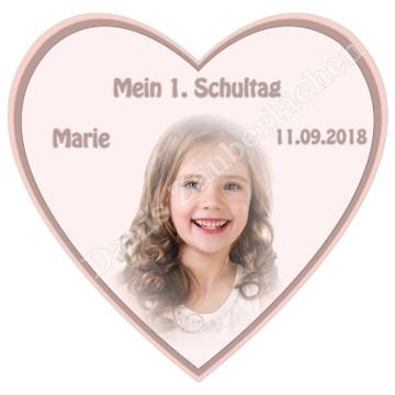 ESSBARES TORTENBILD TORTENAUFLEGER Herzform Fotobild Motivtorte mit Wunschtext und Foto Einschulung Schulkind Schulanfang