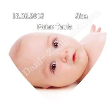 ESSBARES TORTENBILD TORTENAUFLEGER HerzformvFotobild Motivtorte mit Wunschtext und Foto Geburt Taufe