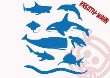 Ozean Tiere Set Bügelbild Kinderbügelbild Farbwahl Flexfolie Flockfolie