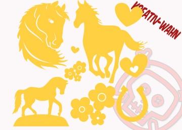 Pferde Set Bügelbilder Kinderbügelbild Farbwahl Flexfolie Flockfolie