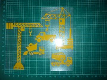 Bügelbild Baustelle SET Kran Bauen Fahrzeug SALE Applikation