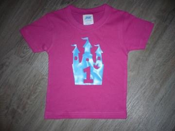Geburtstagsshirt Schloss mit Zahl1 eins und Krone Shirt Kindergeburtstag Geburtstag T-Shirt