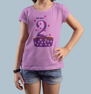 Geburtstagsshirt Ich bin 2 Cupcake Shirt Kindergeburtstag Geburtstag T-Shirt Größe 86 92