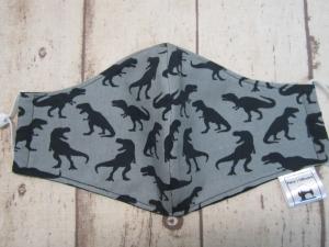 Behelfsmaske für Mund und Nase Grundschulkinder  - Dinosaurier, Dinos, grau