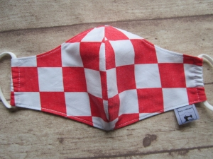 Behelfsmaske für Mund und Nase  (Männer)  Schachbrett rot-weiss - Handarbeit kaufen