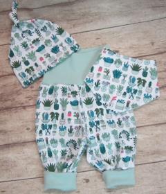 Babyset 3-teilig Gr. 62  ♥   mit Kaktusdruck - Handarbeit kaufen