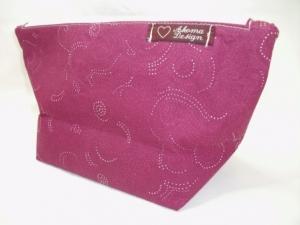 Kleine Tasche in Beeren Farben mit weißem Pünktchenmuster  - Handarbeit kaufen