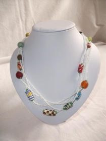 Tolle Kette- aus handgefertigten afrikanischen Glasperlen, handgefertigt - Handarbeit kaufen
