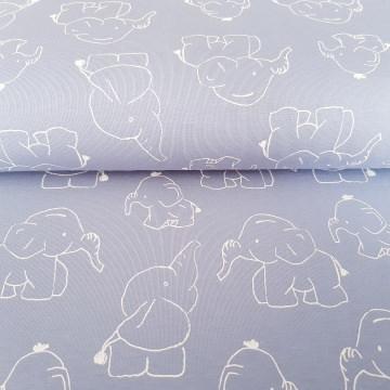 14,00 Euro/m Jersey Stoff Kinderstoff 150cm Elefanten blau QjuTie Kids Collection
