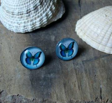 Ohrstecker mit Schmetterling in blau, 12mm, versilbert
