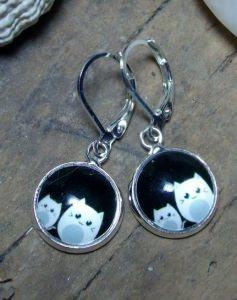 Ohrringe zwei niedliche Kätzchen, süß, versilbert