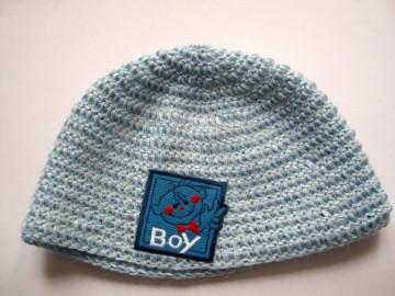 Babymütze KU 38 cm , blau, für Jungen, mit Aufnäher