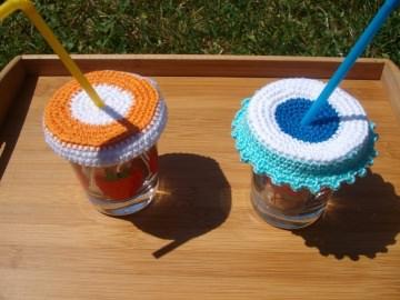 2 Stück Glasabdeckung, Insektenschutz für Trinkgläser, Bienenschirmchen - Handarbeit kaufen
