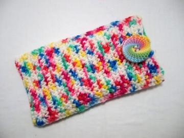 Tasche für Smartphone, Stifte oder sonstiges, bunt gemustert - Handarbeit kaufen