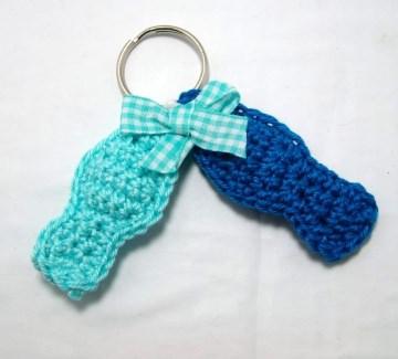 Schlüsselanhänger zwei Fische, türkis und blau