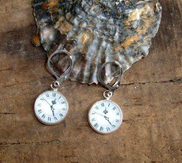 Ohrringe Uhr/Zifferblatt, hübsch, versilbert