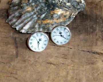 Ohrstecker Uhr/Zifferblatt , 12mm , versilbert