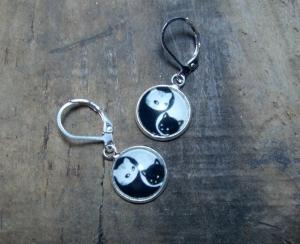 Ohrringe mit Katzen Ying und Yang, versilbert