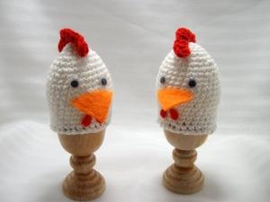 Eierwärmer Hühner, gehäkelt, lustig, 2 Stück