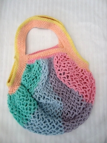 Einkaufsnetz Regenbogen pastell,, nachhaltig, extra groß