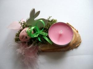 Kleines Ostergesteck mit Kerze und Moos, rosa-grün - Handarbeit kaufen