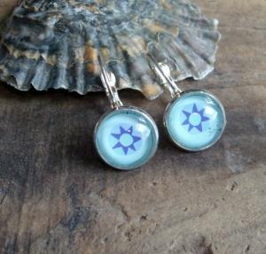 Ohrringe Stern, verschiedene Blautöne, zum klappen, cool - Handarbeit kaufen