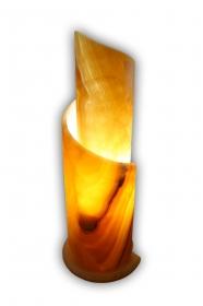 Exklusiv: Spiralförmige (Schneckenform) handgearbeitete exklusive Deko Leuchte (Unikat) 60cm hoch aus mexikanischem Onyx Marmor (Naturstein) in Honig Gelb