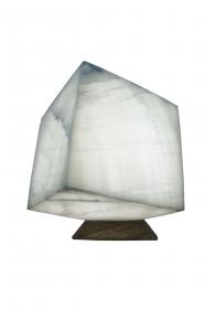 Exklusiv: Dekorative würfelförmige handgearbeitete Tischlampe (Unikat) aus mexikanischem Onyx Marmor (Naturstein) aus ONYX
