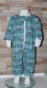 Babyschlafanzug / Strampler / Baby / Panda mint gestreift / Halalino