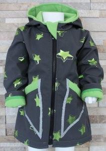 Softshelljacke / Übergangsjacke / Babyjacke / grau mit metallic grünen Sternen / Größe 74-80 / Halalino