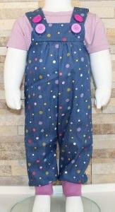 Latzhose Jeans Punkte flieder / Babyhose / Größe 62-68 / Halalino