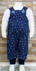 Latzhose Jeans Punkte grün / Babyhose / Größe 62-68 / Halalino